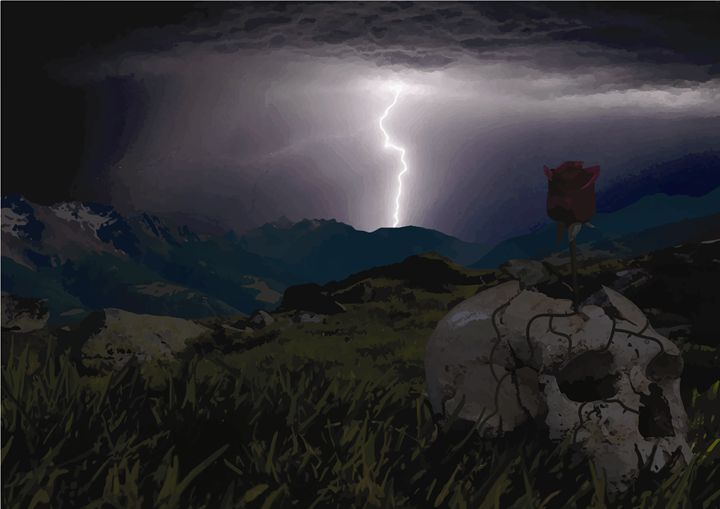 Lightning, Skull & Rose - Chris R du Toit