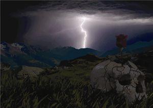 Lightning, Skull & Rose