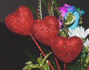 Three glitter love hearts