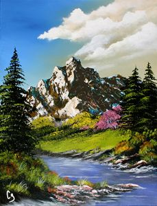 Vibrant Mountain and Stream