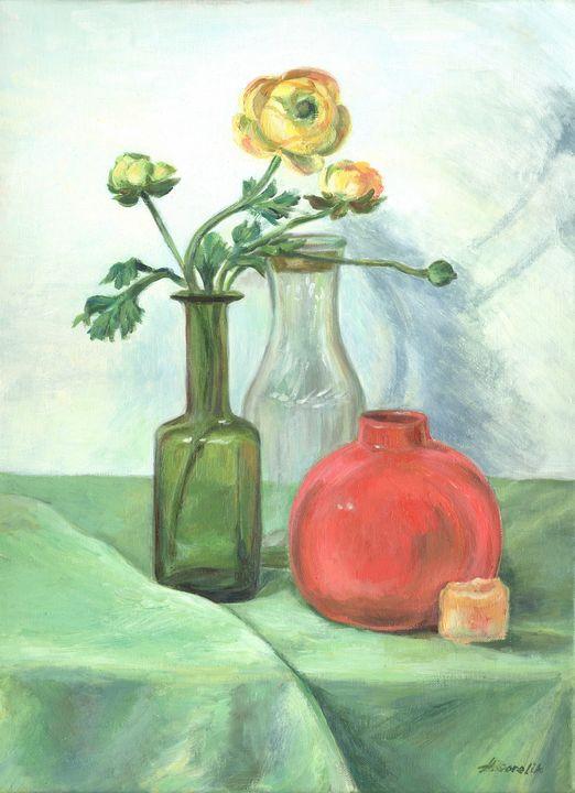 Still life with a jug and bottles - Alla Gorelik