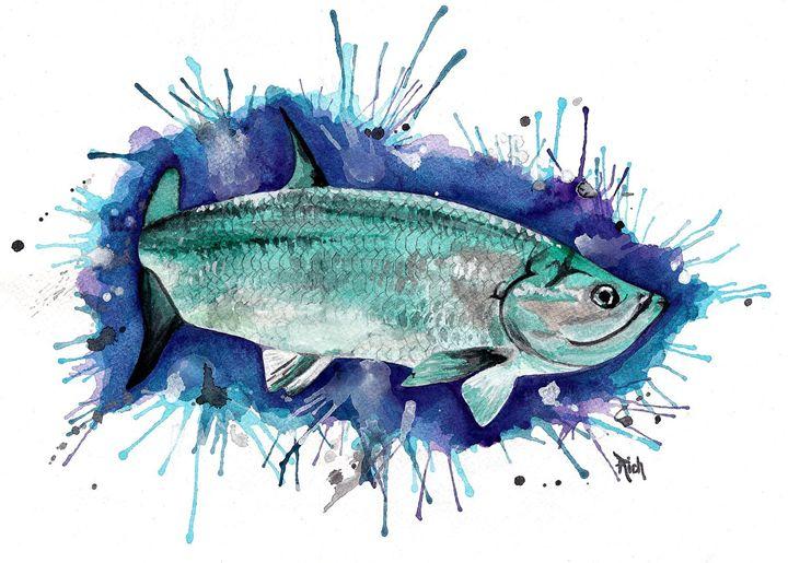 Tarpon Watercolor - Wicked Wallow Designs