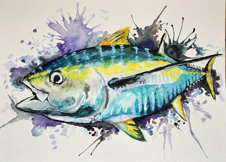 Tuna Watercolor - Wicked Wallow Designs