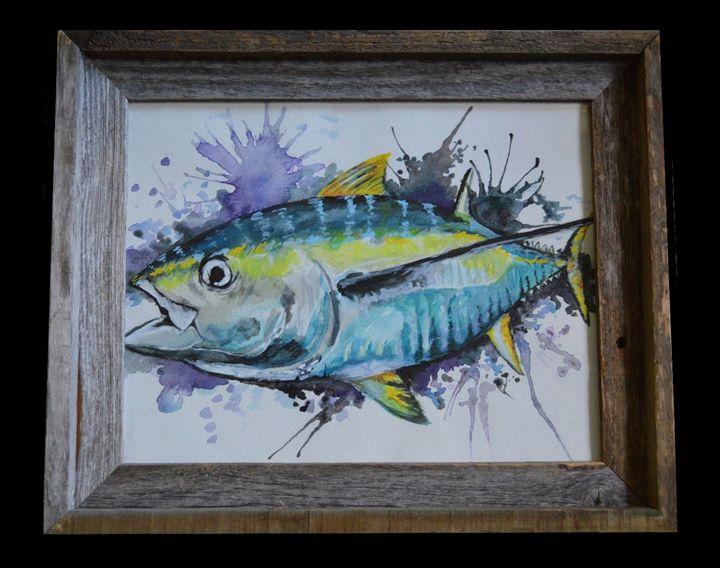 Original Tuna Watercolor Framed - Wicked Wallow Designs