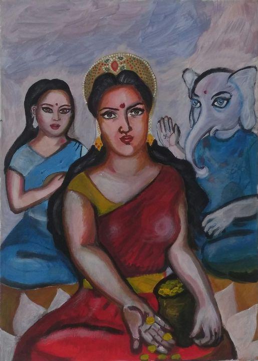 Lakshmi, Sarasvati and Ganesh - Artbox