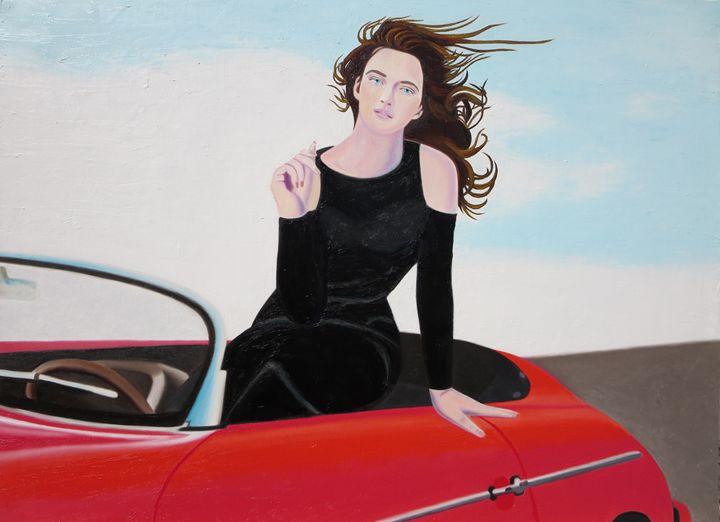 Re-Created Girl in Porsche 356 - Robert S. Lee