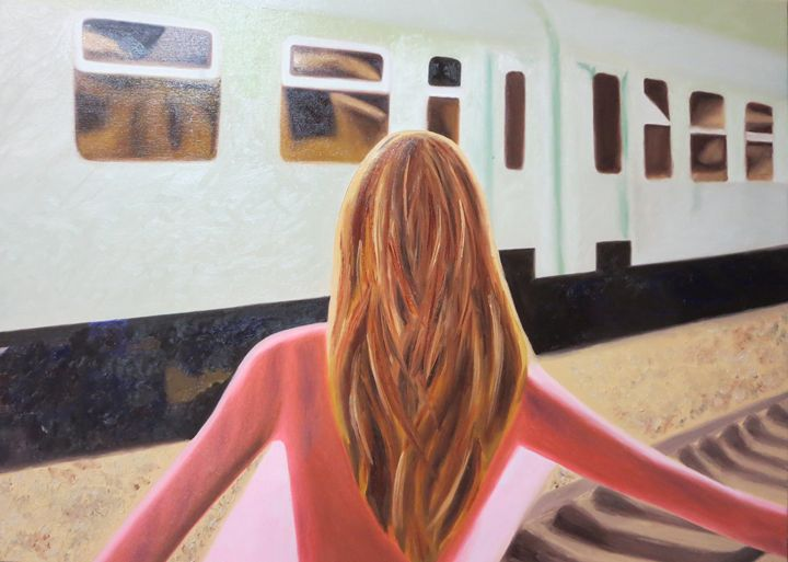 Re-Created Girl at Station - Robert S. Lee