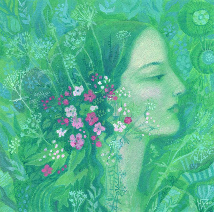 Summer Girl Portrait in Green Shades - Julia Khoroshikh / Clipso-Callipso