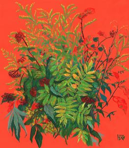 Autumn floral, rowan leaves, elder b