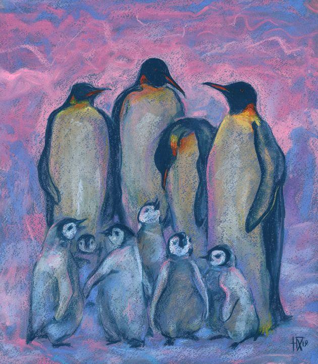 Emperor Penguins with Baby Chicks - Julia Khoroshikh / Clipso-Callipso