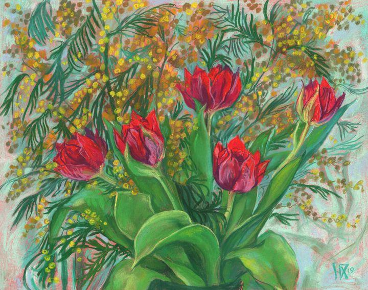 Mimosa and Tulips, Spring Flowers - Julia Khoroshikh / Clipso-Callipso