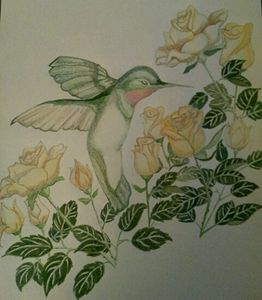 Yellow Rose Hummingbird