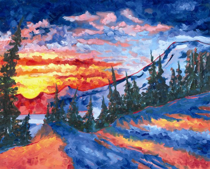 Mountain Sunset Artist Print from an - Adabethe's Creations