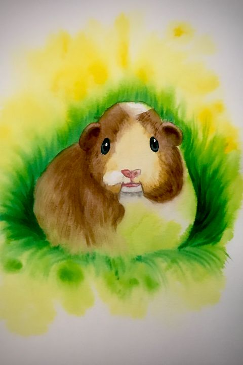 Watercolor - Guinea Pig - Outschool Demo Works