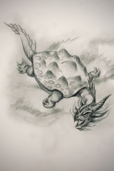 Sketching - Turtle Dragon - Online Lesson Demo Works