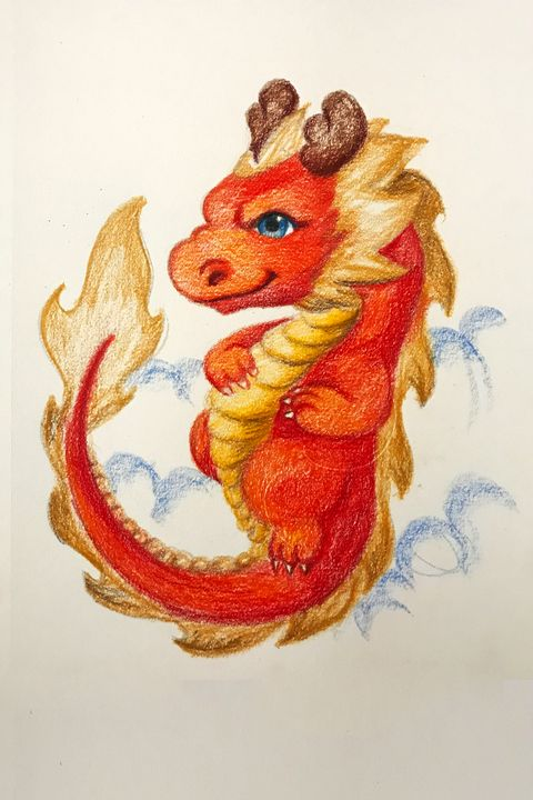 Drawing - Eastern Baby Dragon - Outschool Demo Works