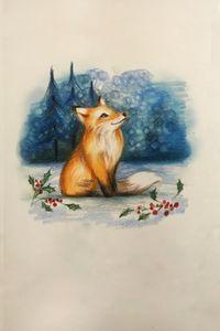 Drawing - Christmas Fox