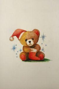 Drawing - Christmas Teddy Bear