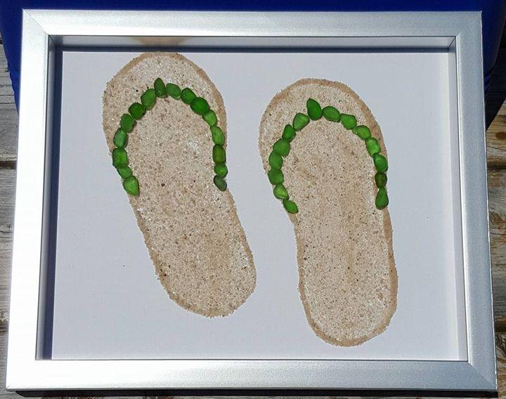 Green Flip Flops - Beachglass Beauties