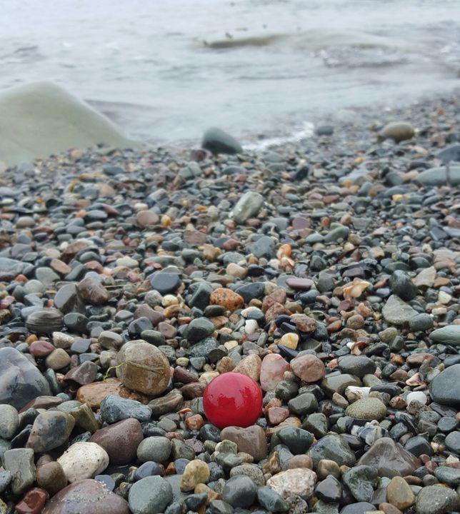 Red Sea Glass Marble On The Seashore - Beachglass Beauties