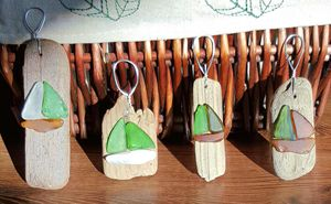 Sailboat Christmas Ornaments - Beachglass Beauties