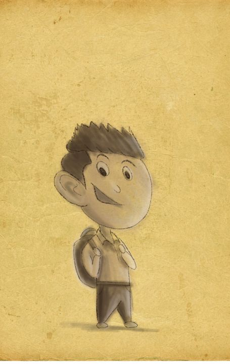 school boy cartoon - Brar Art
