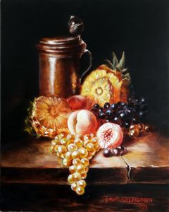 Still life with grapes, peaches and