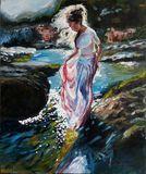 A girl near the brook