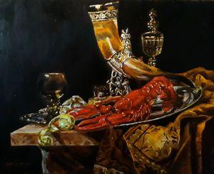 Ancora vita con il corno e vino buon