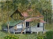 Roseland Cottage - acrylics by gloria