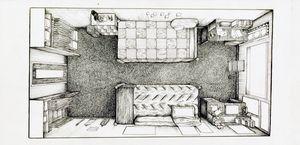 Dorm Room in Ink