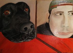 On reflection man and dog are as one - Danny Jefferis Art