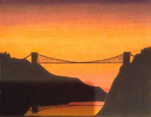 Sunset on clifton suspension bridge