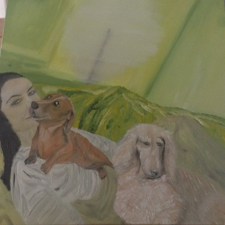 Chilling with the dogs - Danny Jefferis Art