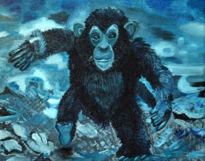 Baby Monkey Print on Canvas (Blue)