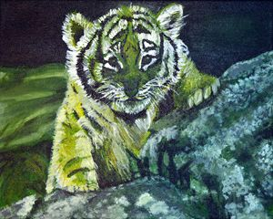 Baby Tiger on Canvas (Green)