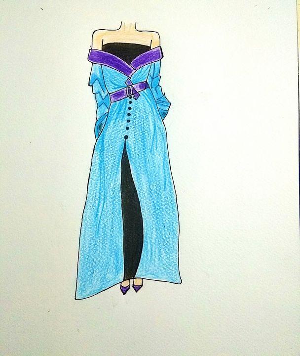 Off Shoulder with Velvet Coat - Art