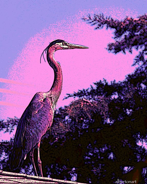 Colorful Heron - Al Burton Art