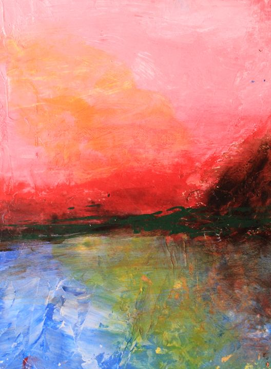 Pink Sky over Water Abstract - Al Burton Art
