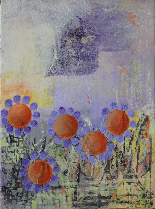 Cheery Flowers Abstract - Al Burton Art