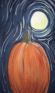 Moon lighting pumpkin