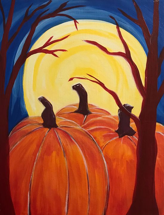 Full moon over pumpkin patch - George Anastos