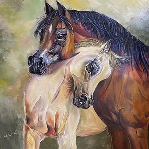 Horses hug