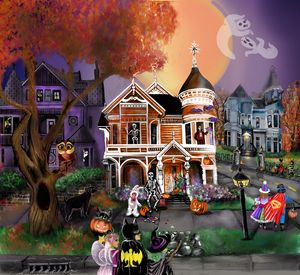 Mansions and trick or treats - AtoZcanvas