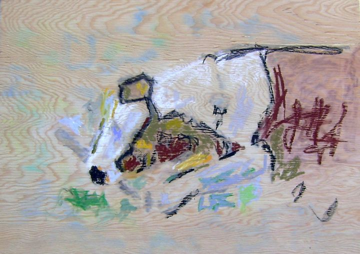 spotted dog (with stick) - Norman Allan