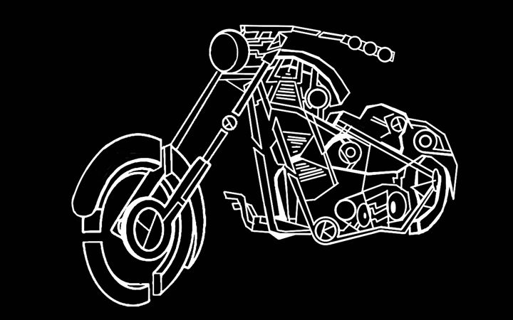 Abstract Motor Cycle 3D - Wifffles Arts and Stuff