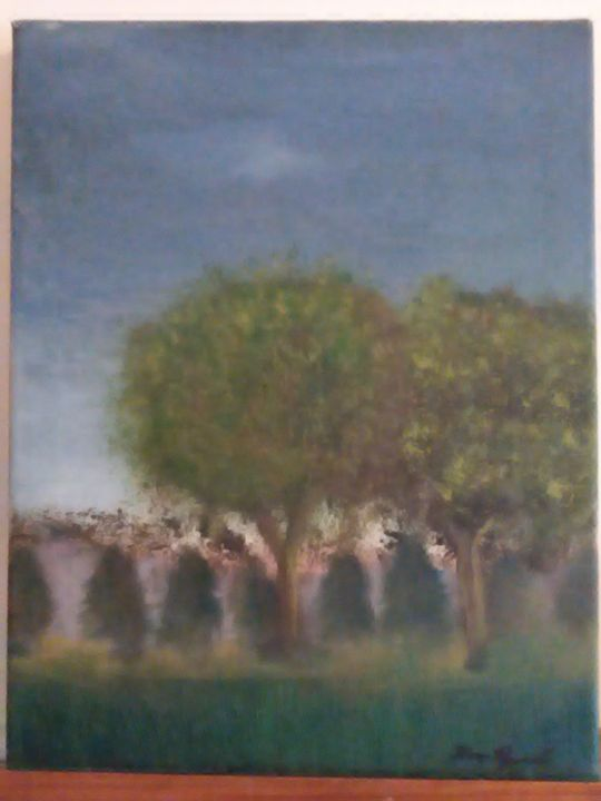 two trees in the fog - paintings by Raymond