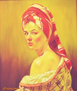Lady in Red Paiting