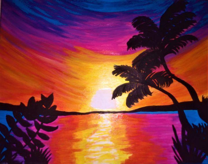 Rainbow beach sunset - Morgan's Painted Originals