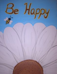 """""""Be Happy"""" flower and bee"""
